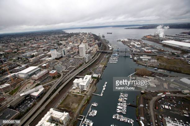 Aerial view of the Port of Tacoma on December 18 2017 in Dupont Washington At least six people were killed when a passenger train car derailed nearby...