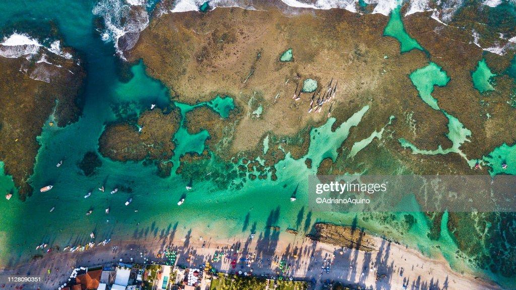 """Aerial view of the """"Porto de Galinhas"""" beach : Stock Photo"""