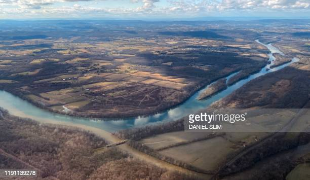 Aerial view of the Potomac River, the border between Maryland and Virginia , on December 31, 2019.