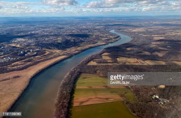 Aerial view of the Potomac River the border between Maryland and Virginia on December 31 2019