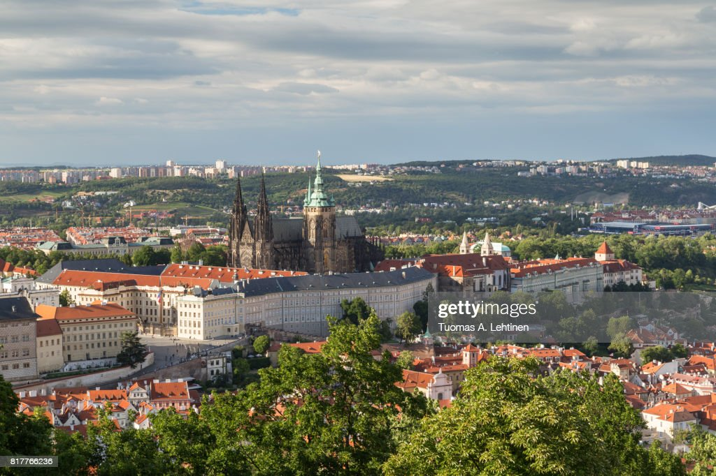 Aerial view of the Prague Castle : Stock Photo