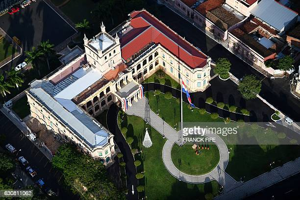 Aerial view of the presidential palace in Asuncion on January 1 2017 ahead of the 2017 Dakar Rally which this year will thunder through Paraguay...