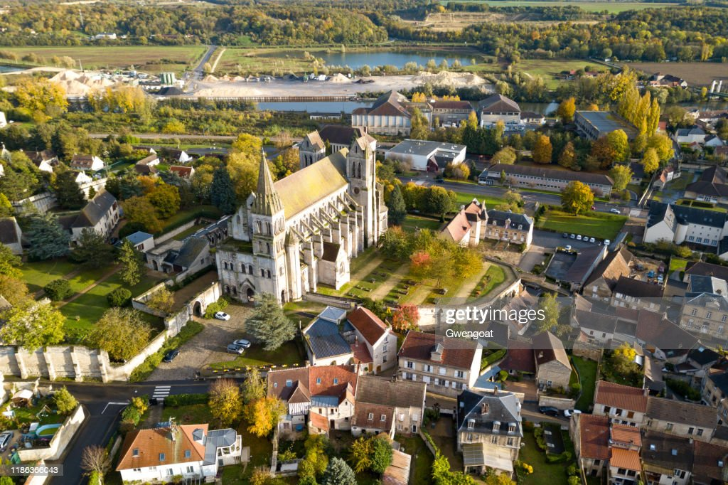 Aerial view of the Priory Church of Saint-Leu-d'Esserent : Stock Photo