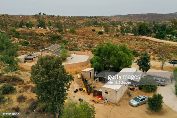 Aerial view of the property in Aguanga shown at right side of photo where seven people were shot to death over Labor Day weekend at an illegal...