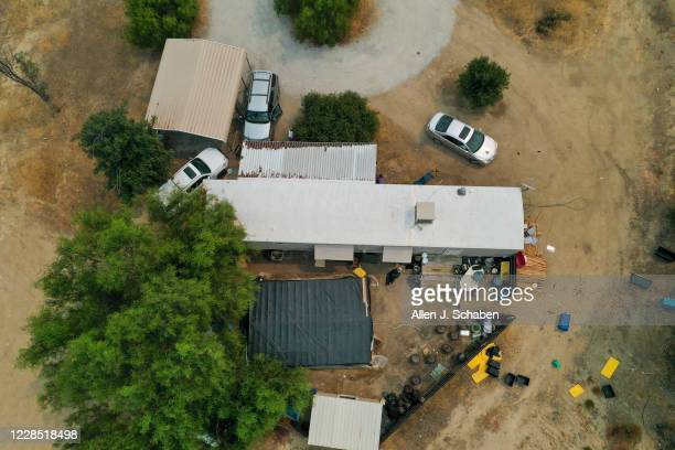 Aerial view of the property in Aguanga where seven people were shot to death over Labor Day weekend at an illegal marijuana grow house in Riverside...
