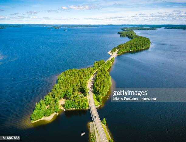 aerial view of the pulkkilanharju ridge crossing the lake päijänne in finland - finland stock pictures, royalty-free photos & images