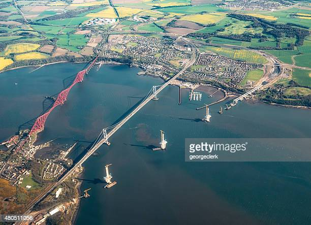 aerial view of the queensferry crossing during construction - estuary stock pictures, royalty-free photos & images
