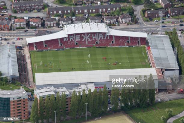 Aerial view of the Racecourse Ground Home of to Wrexham associated football club on the May 12th 2018 This stadium is located in the north east of...