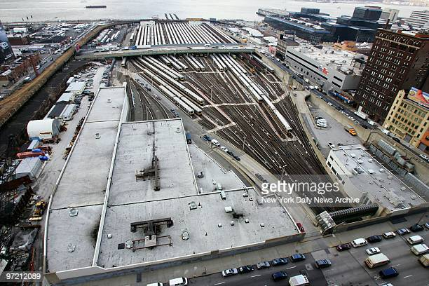 Aerial view of the rail yards at 33rd St and the West Side Highway the proposed site of the New York Jets' new stadium The Jacob Javits Convention...