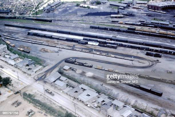 Aerial view of the railroad yards Seoul South Korea July 1952