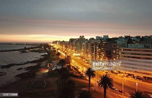 Aerial view of the Rambla Gandhi of Punta Carretas neighbourhood in Montevideo, taken on September 1, 2018.