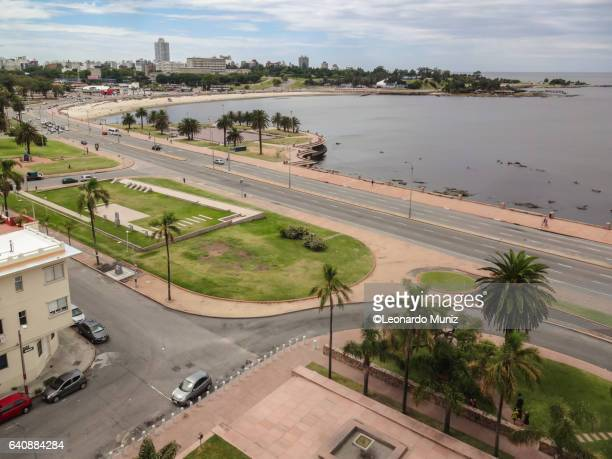 aerial view of the rambla of montevideo on the parque rodó. - montevideo stock pictures, royalty-free photos & images
