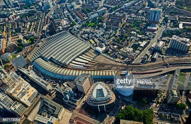 aerial view of the redeveloped waterloo station - waterloo railway station london stock pictures, royalty-free photos & images