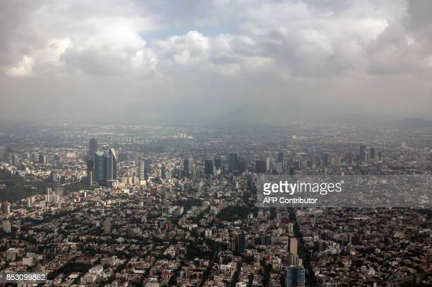 TOPSHOT Aerial view of the Reforma Sector in Mexico City on September 24 five days after the powerful quake that hit central Mexico A strong 61...