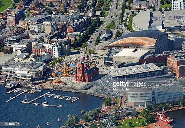 aerial view of the regeneration of cardiff docks - cardiff wales stock pictures, royalty-free photos & images