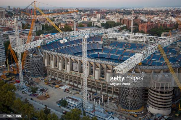 Aerial view of the renovation works on Santiago Bernabeu stadium on October 9, 2020 in Madrid, Spain. Azca, considered the business heart of the...