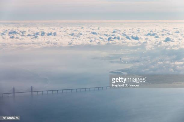 aerial view of the öresund and malmö, sweden - oresund region stock photos and pictures