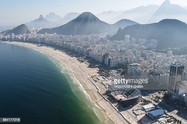 Aerial view of the Rio 2016 Olympic Games' Beach Volleyball Arena at Copacabana beach in Rio de Janeiro Brazil taken on July 26 2016 The Rio 2016...