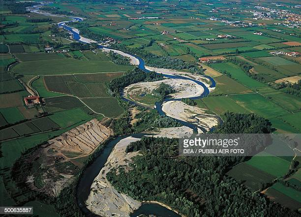 Aerial view of the river Oglio Lombardy Italy