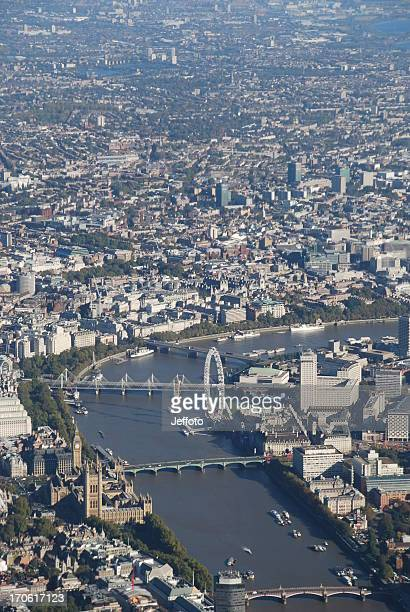 aerial view of the river thames in london city - westminster bridge stock pictures, royalty-free photos & images