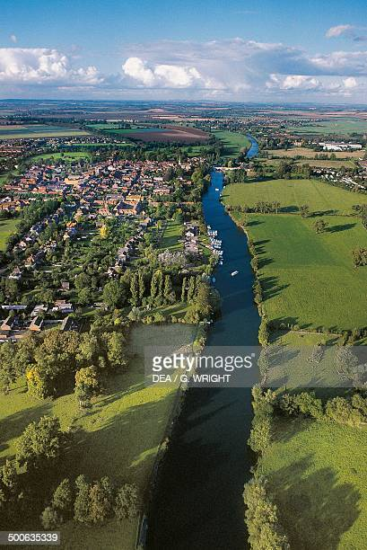 Aerial view of the River Thames in Wallingford Oxfordshire England United Kingdom