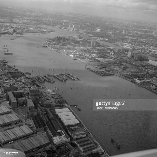 Aerial view of the River Thames near the Royal Docks where the Thames Barrier is under construction, London, UK, 24th February 1977.
