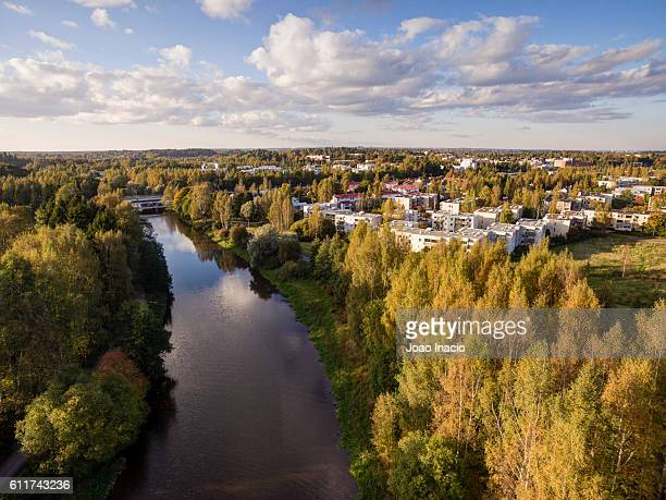 Aerial View of the River Vantaa, Helsinki, Finland
