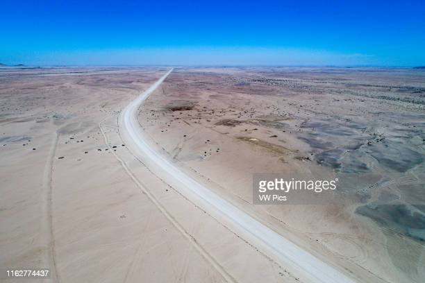 Aerial view of the road running through the Namib desert in Namibia, Africa