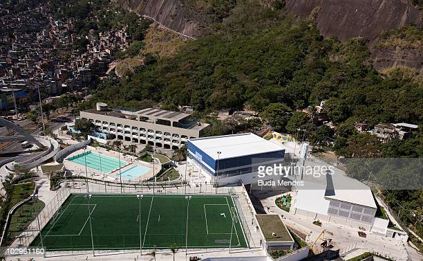 Aerial view of the Rocinha Sports Complex facilities at the LagoaBarra driveway in Rocinha shantytown on July 8 2010 in Rio de Janeiro Brazil This...
