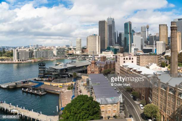 Aerial view of the rocks, Circular Quay and the Sydney Downtown district in Australia