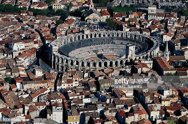 Aerial view of the Roman arena Arles ProvenceAlpesCote d'Azur France Roman civilisation 1st century