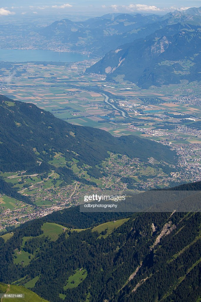 Aerial view of the Romandie : Stock Photo