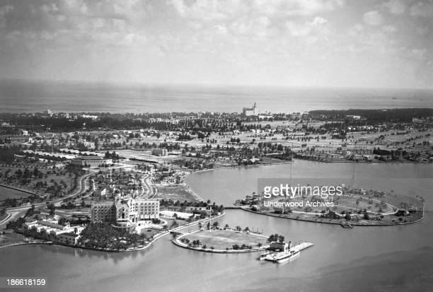 Aerial view of the Roney Plaza Hotel and Casino in Miami Beach Miami Beach Florida mid 1920s
