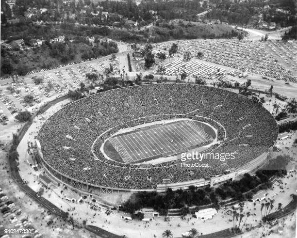 Aerial view of the Rose Bowl during the 36th annual Rose Bowl Game, Pasadena, California, January 4, 1950. The game, seen by more than 100000...