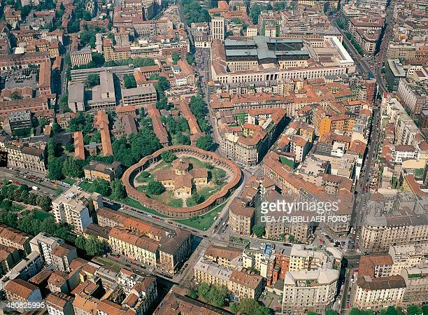 Aerial view of the Rotonda di Via Besana in Milan Lombardy Region Italy