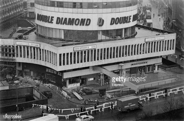 Aerial view of the Rotunda, location of one of the two pub bombings on 21st November 1974, in Birmingham, West Midlands, England, 23rd November 1974....