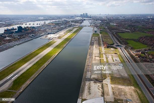 Aerial view of the Royal Albert Docks and London's City Airport, on March 25, 2008 in the East End of London, UK.