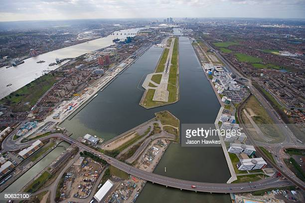 Aerial view of the Royal Albert Docks and London's City Airport on March 25 2008 in the East End of London UK