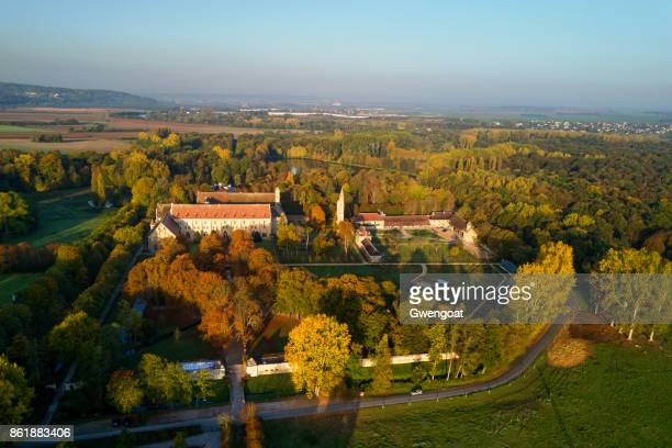 aerial view of the royaumont abbey - val d'oise stock photos and pictures