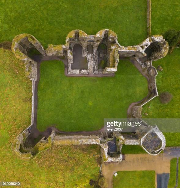 aerial view of the ruins of a castle - castello foto e immagini stock