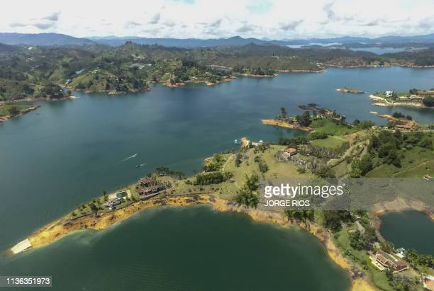 """Aerial view of the ruins of """"La Manuela"""", a former vacation estate of late drug kingpin Pablo Escobar's family, on El Penol reservoir, in the..."""