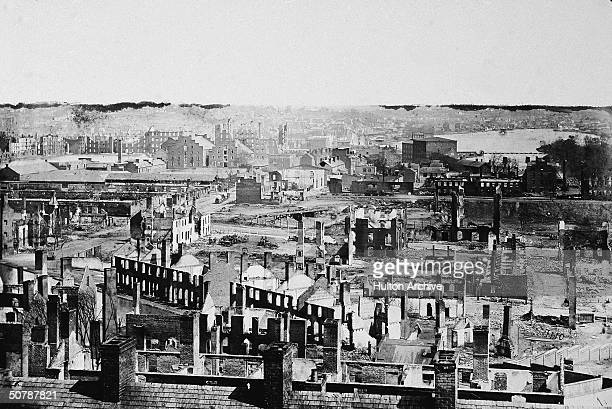 Aerial view of the ruins of the city of Richmond after General Sherman's 'March to the Sea' campaign which began in Atlanta on November 15and ended...