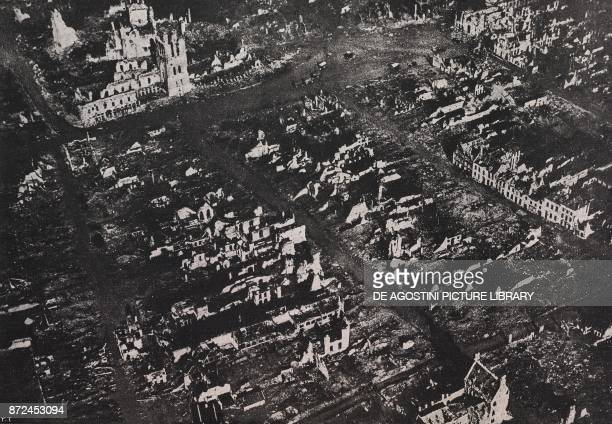 Aerial view of the ruins of Ypres Flanders Belgium World War I from l'Illustrazione Italiana Year XLV No 18 May 5 1918