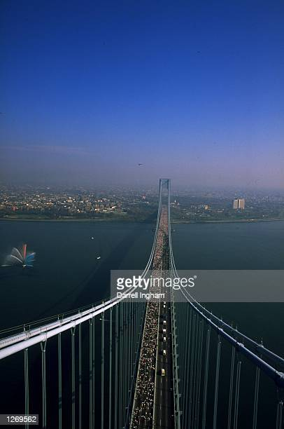 Aerial view of the runners as they cross the Verrazano Narrows bridge during the New York Marathon in the USA Mandatory Credit Darrell Ingham/Allsport