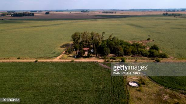 Aerial view of the rural school Nº44 surrounded by soybean fields near Santa Anita village in Entre Rios province Argentina on February 7 2018 On...
