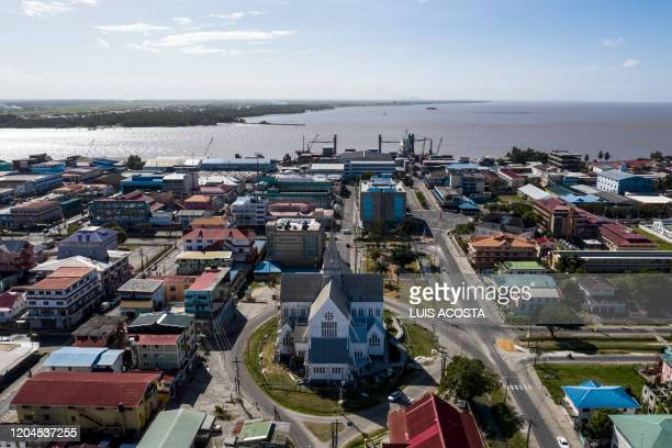 Aerial view of the Saint George's Cathedral and the Georgetown's port in Georgetown Guyana on March 1 2020 Opened on 1892 St George's Cathedral is...