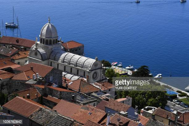 Aerial view of the Saint James Cathedral a UNESCO world heritage site in the town of Sibenik located in the central area of the Dalmatia region...