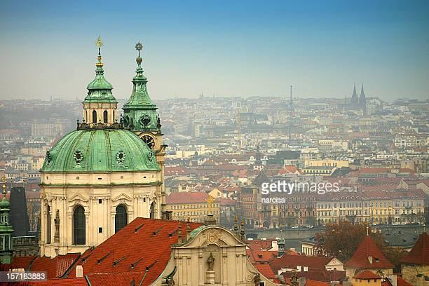 Aerial view of the Saint Nicholas Church in Prague