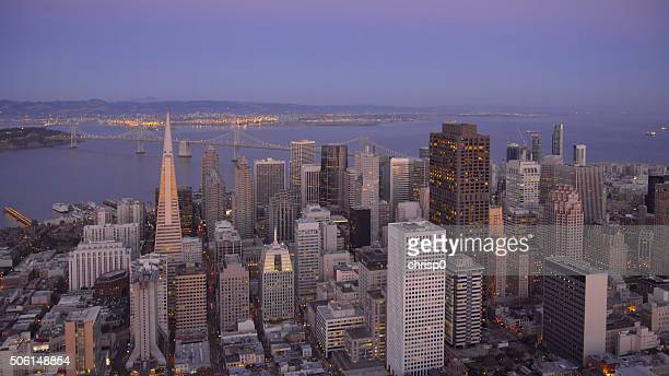 Aerial View of the San Francisco Skyline at Dusk