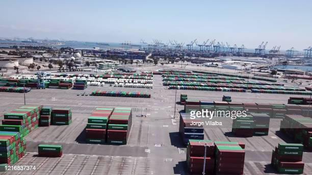 aerial view of the san pedro and los angeles port - port of los angeles stock pictures, royalty-free photos & images